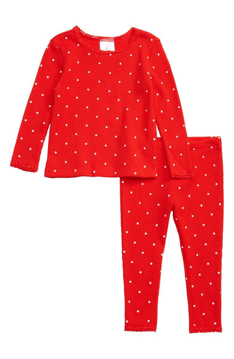 RACHEL PARCELL Thermal Fitted Two-Piece Pajamas, Main, color, RED SCARLET DOT
