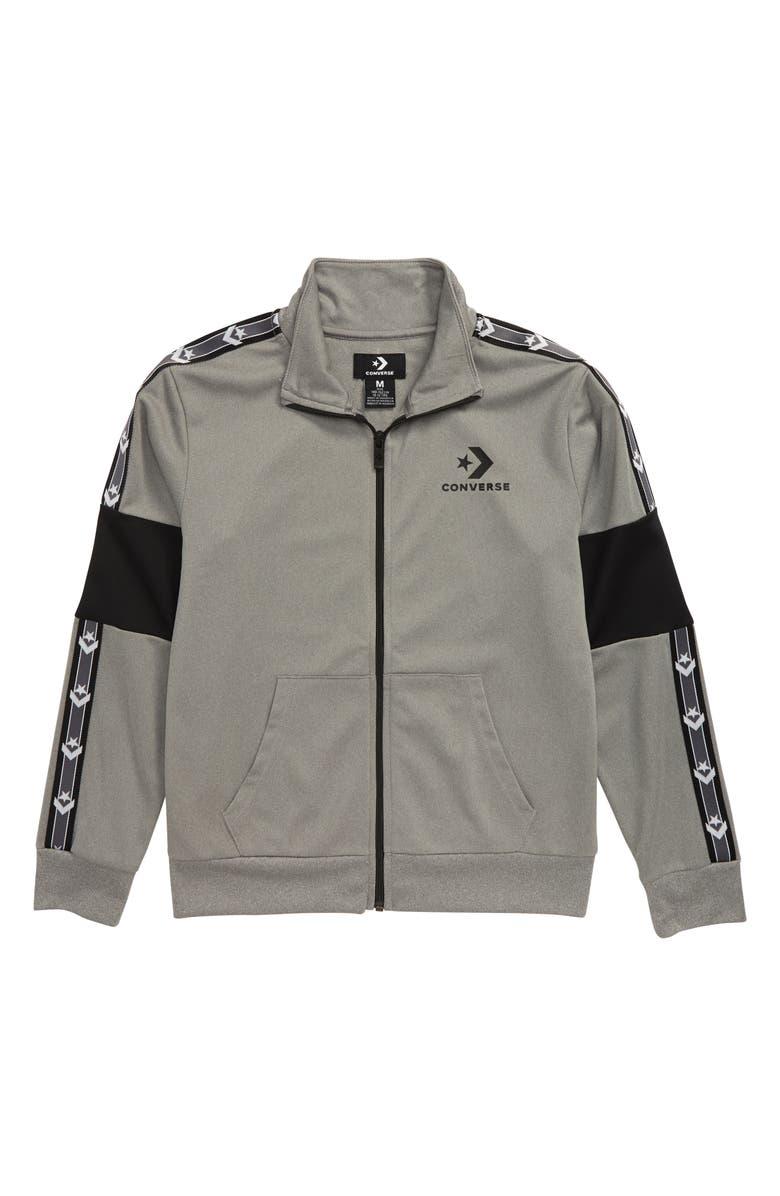 CONVERSE Star Chevron Track Jacket, Main, color, DARK GREY HEATHER