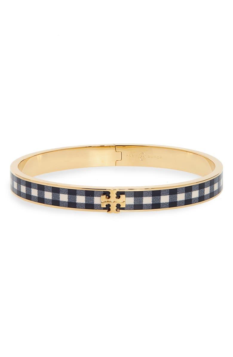 TORY BURCH Kira Print Enamel Hinge Bracelet, Main, color, TORY GOLD / BLACK GINGHAM