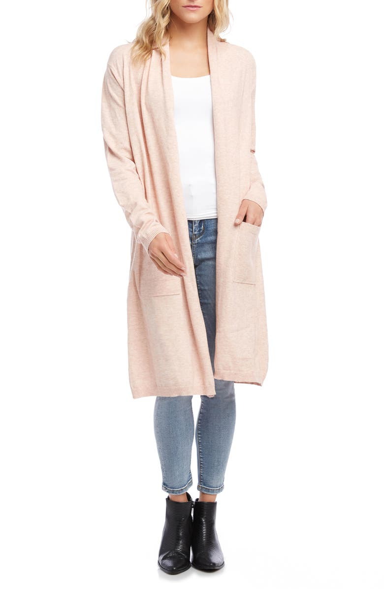 KAREN KANE Heathered Duster Cardigan, Main, color, PETAL PINK