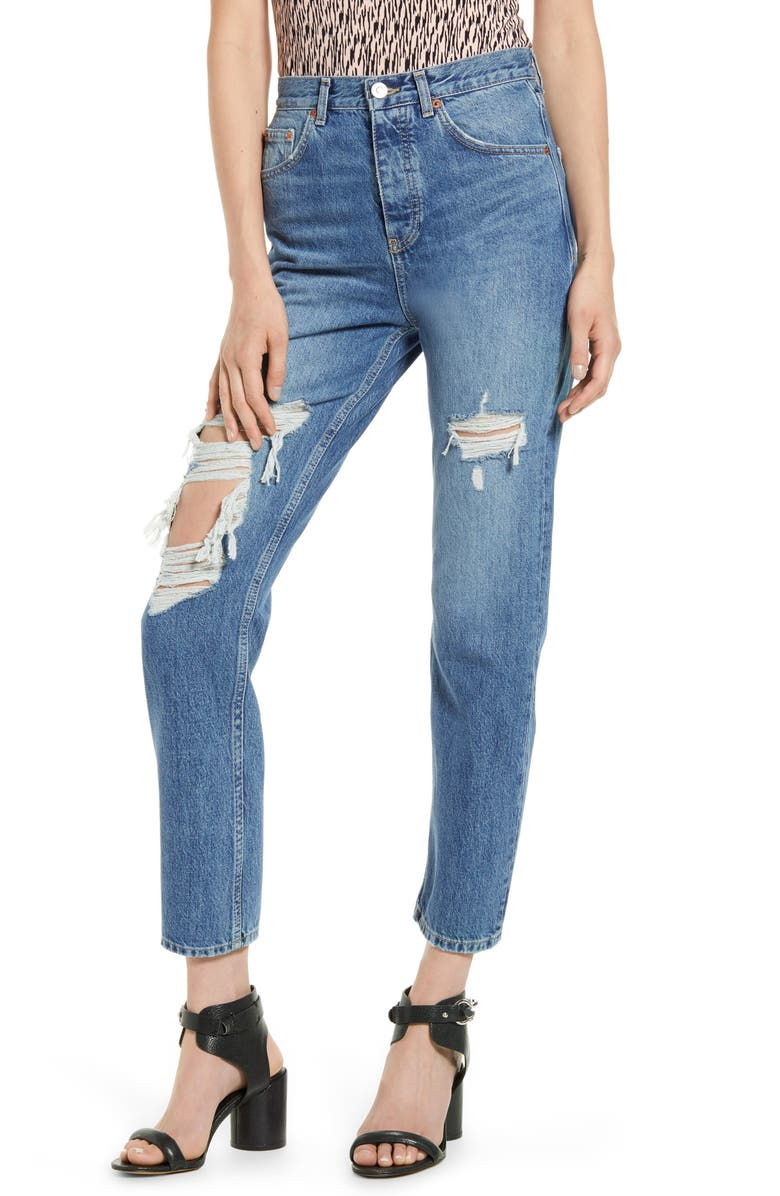 TOPSHOP LA Edit Ripped Jeans, Main, color, MID DENIM