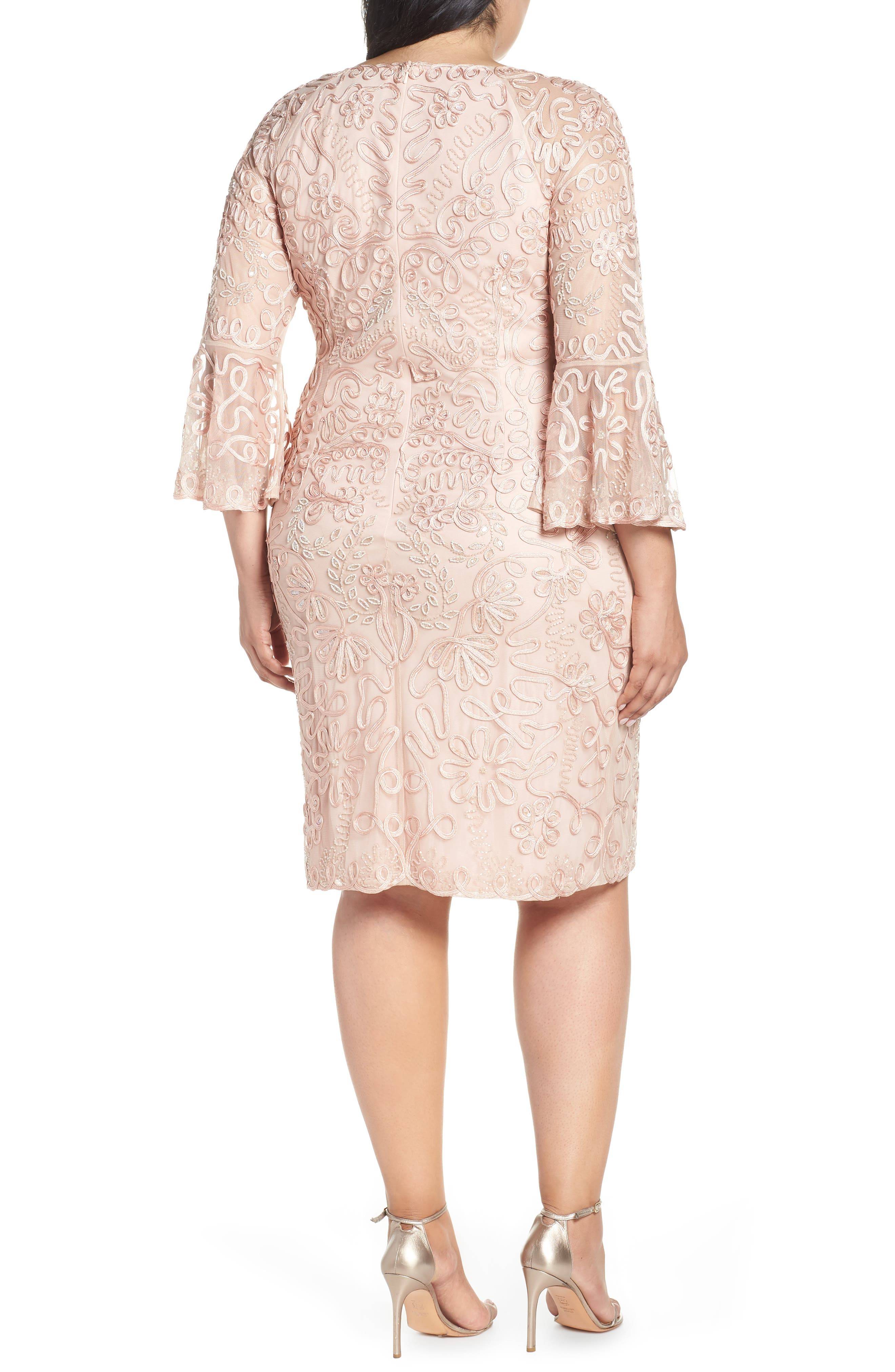 ,                             Bell Sleeve Mesh Shift Dress,                             Alternate thumbnail 2, color,                             PINK TAUPE