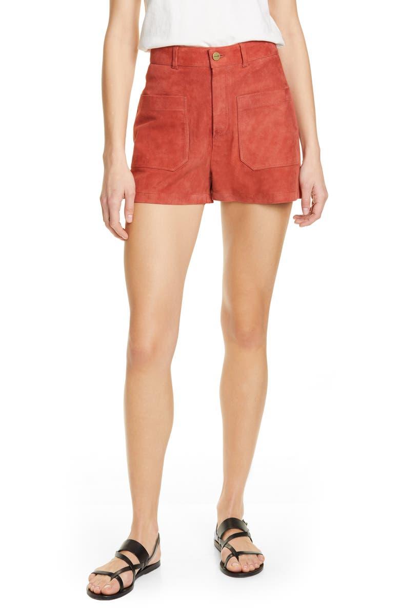 FRAME Le Bardot Suede Shorts, Main, color, 601