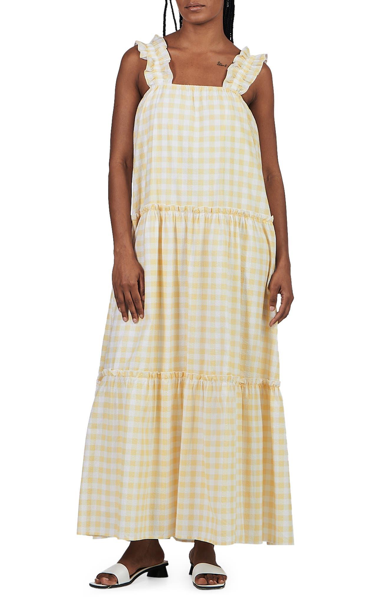 Lottie Gingham Seersucker Maxi Dress