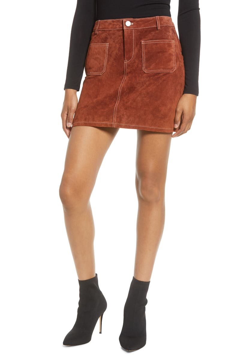 BLANKNYC Topstitch Detail Suede Miniskirt, Main, color, DRIED TOBACCO