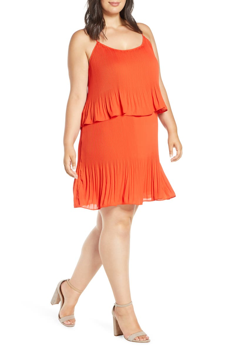 GIBSON x City Safari Tara Gibson Pleated Popover Dress, Main, color, SAFARI RED