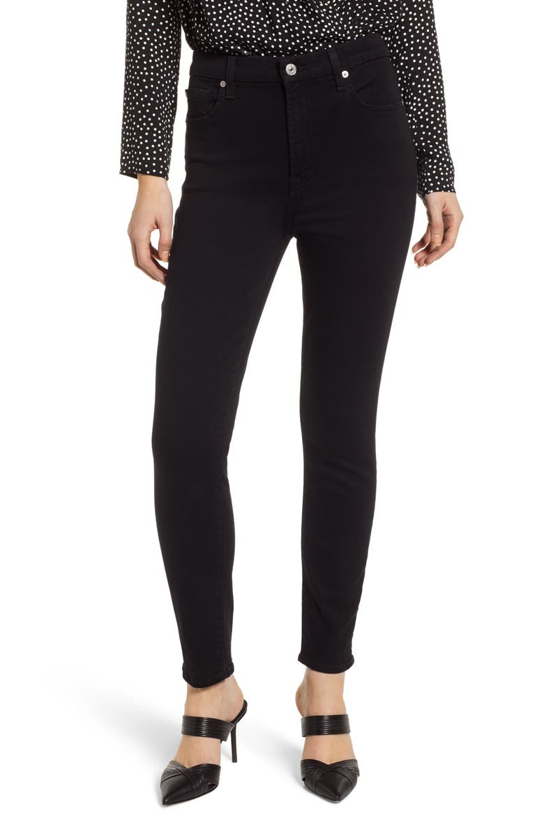 7 FOR ALL MANKIND<SUP>®</SUP> Aubrey Super High Waist Ankle Skinny Jeans, Main, color, PITCH BLACK