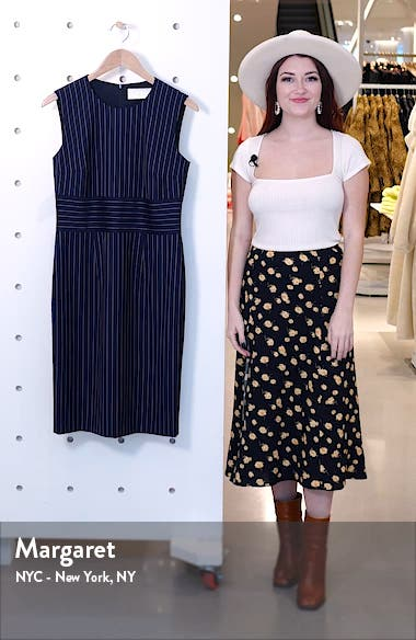 Dometa Pinstripe Sleeveless Stretch Wool Sheath Dress, sales video thumbnail