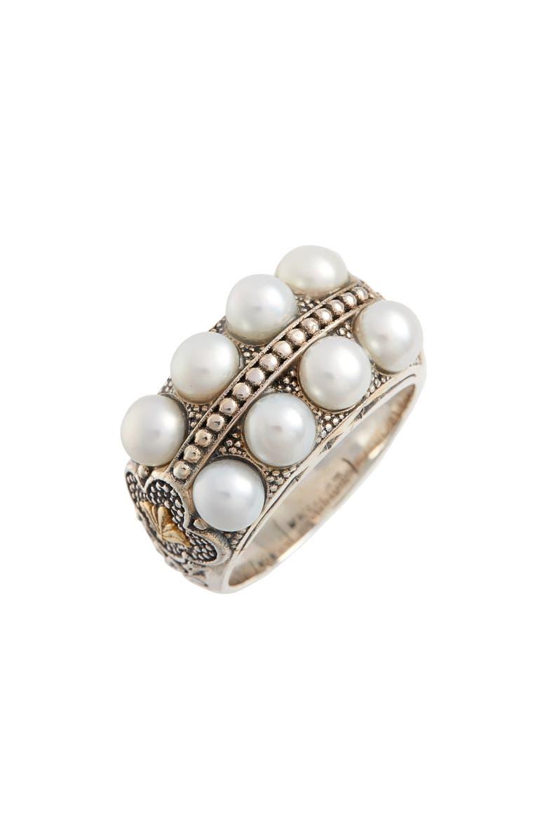 KONSTANTINO Thalia Pearl Row Ring, Main, color, SILVER/ PEARL