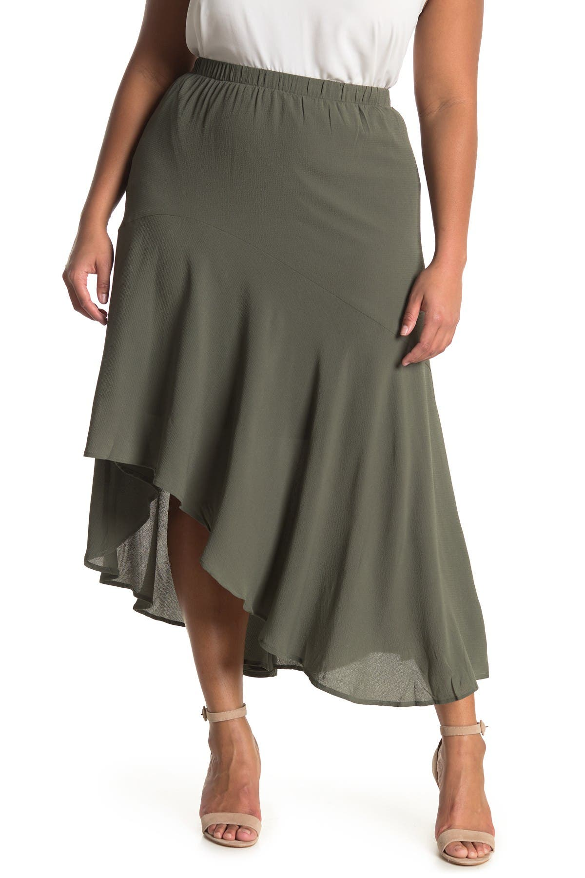 Image of 14TH PLACE Asymmetrical Maxi Skirt