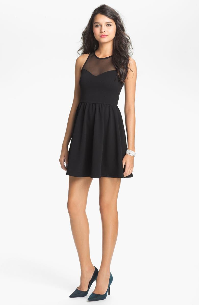 --- Lush Illusion Fit & Flare Dress, Main, color, 001