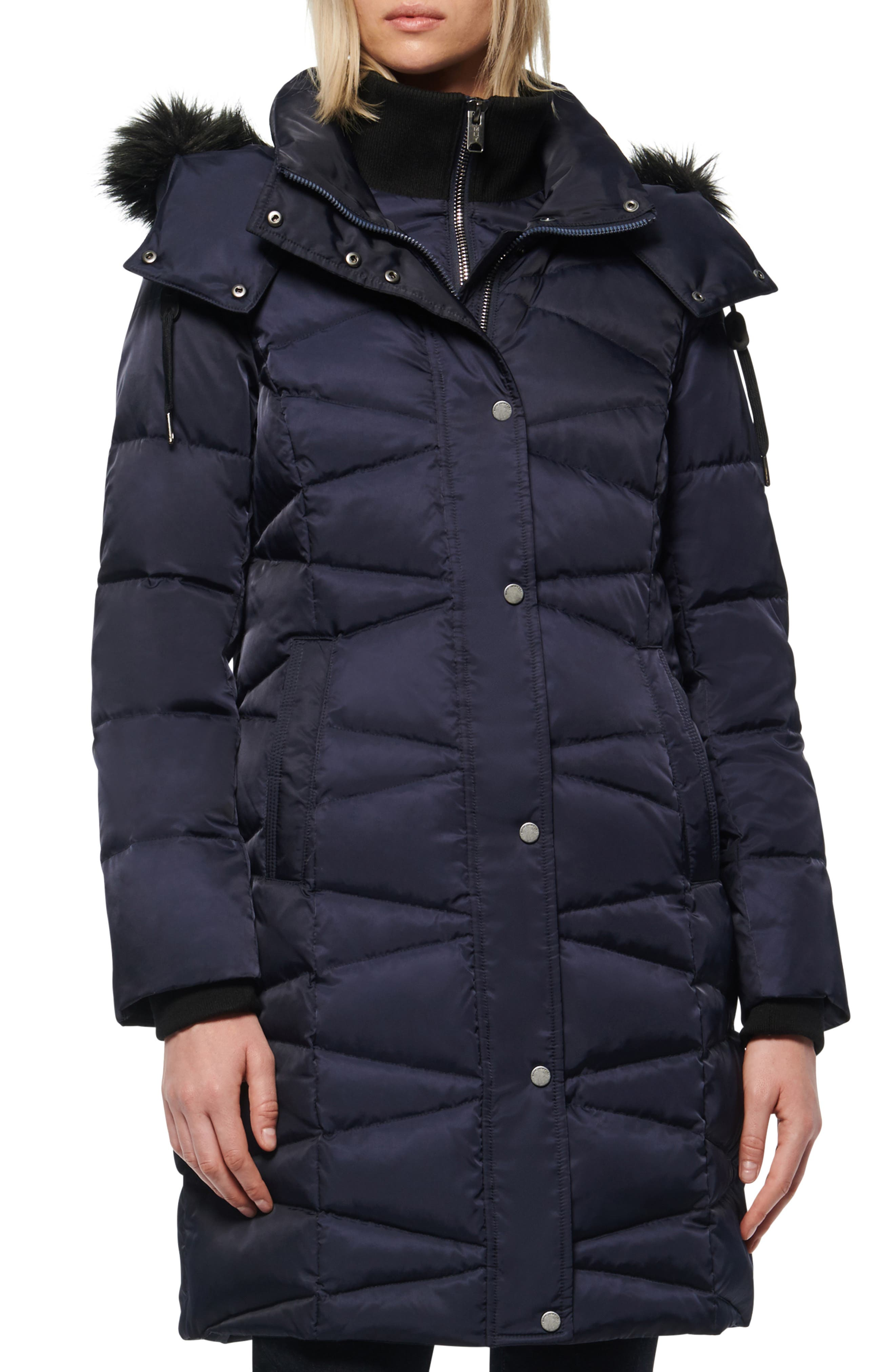 Image of Andrew Marc Malabar Bib Front Faux Fur Trim Quilted Puffer Jacket
