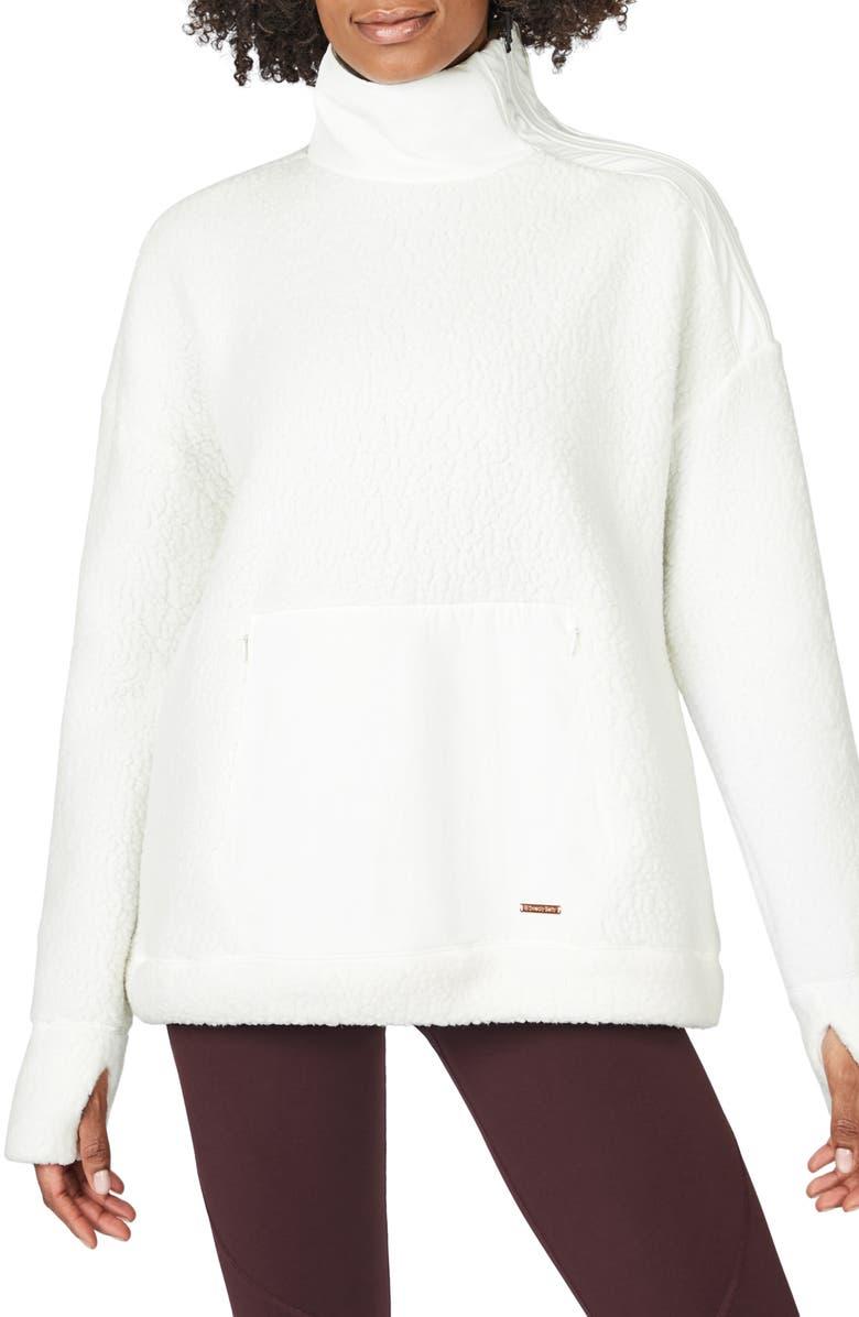 SWEATY BETTY Fleece Pullover, Main, color, LILY WHITE