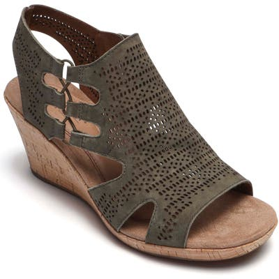 Rockport Cobb Hill Janna Perforated Wedge Sandal W - Green