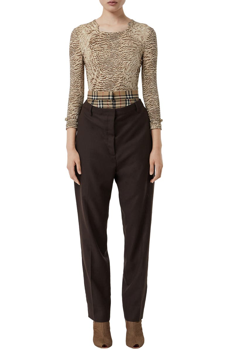 BURBERRY Astrakhan Print Top, Main, color, PALE TAUPE
