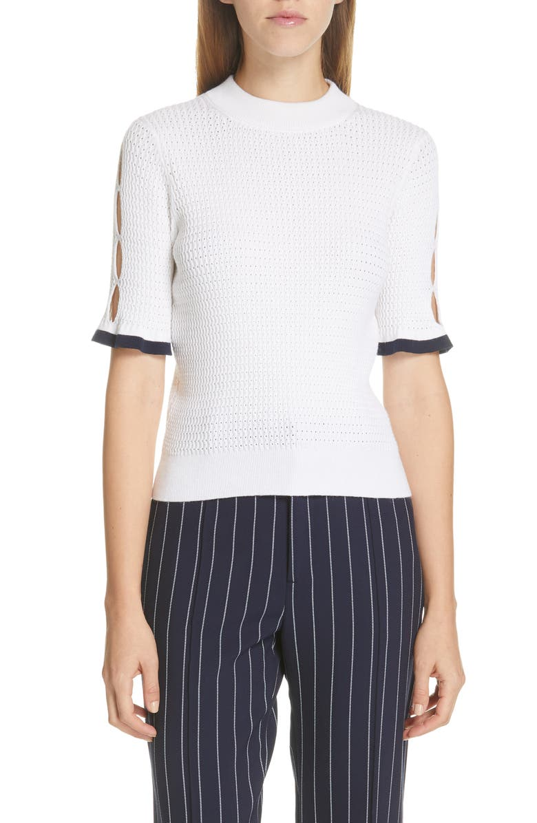 SEE BY CHLOÉ Cutout Pointelle Sweater, Main, color, NATURAL