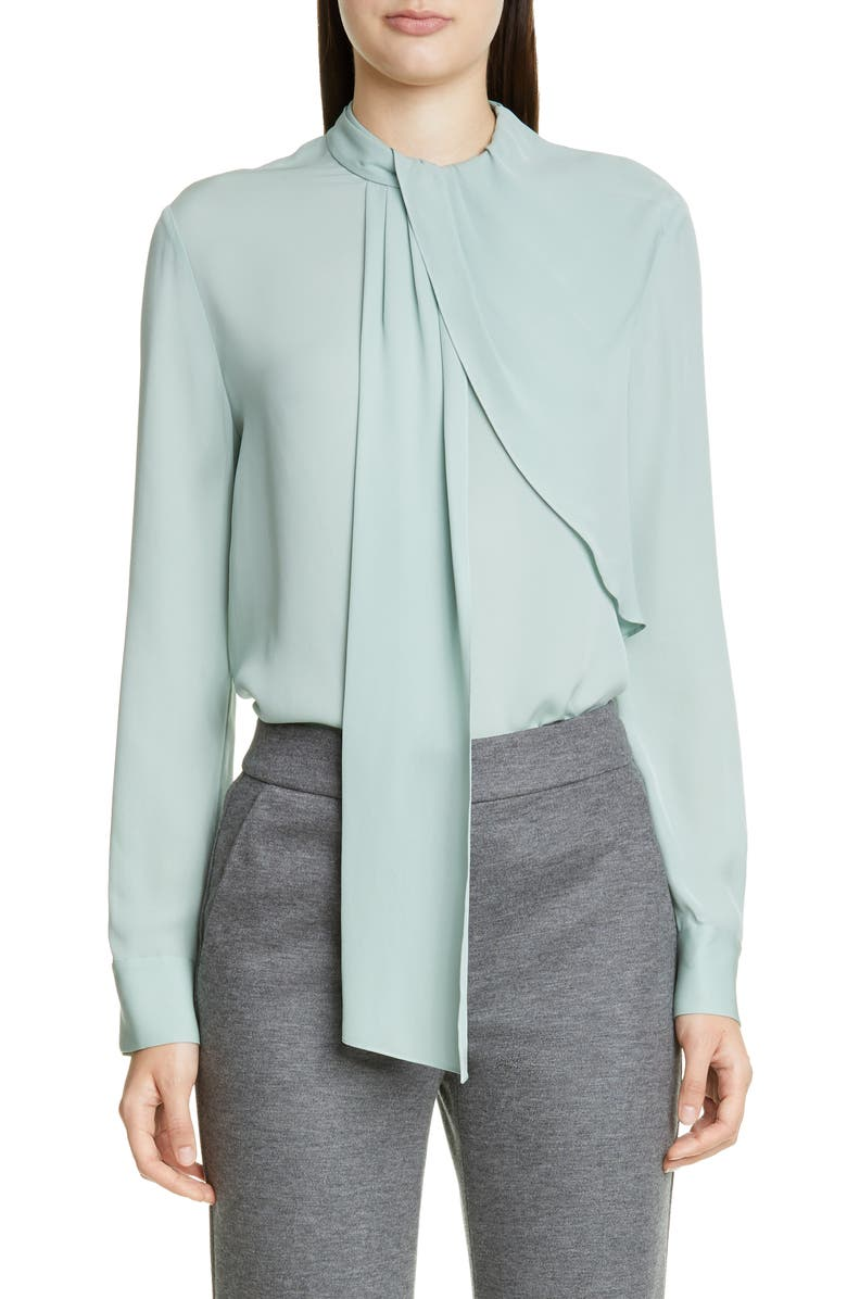 ST. JOHN COLLECTION Georgette-Back Satin Blouse, Main, color, JADE