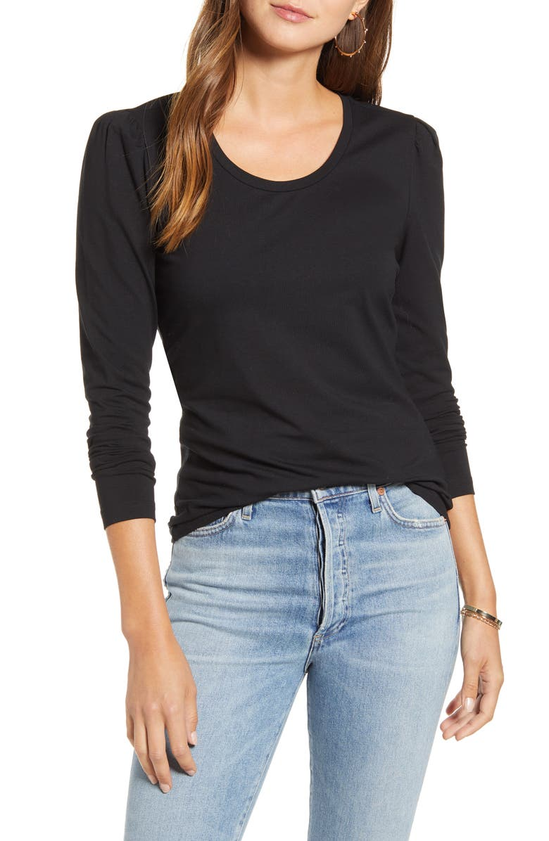 RACHEL PARCELL Slim Fit Pretty Sleeve Stretch Cotton Top, Main, color, BLACK