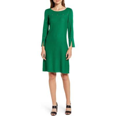 Ming Wang Studded Long Sleeve Sweater Dress, Green