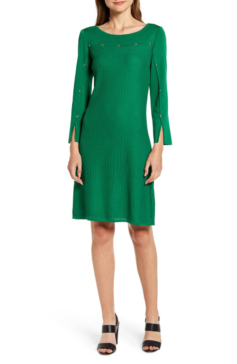 MING WANG Studded Long Sleeve Sweater Dress, Main, color, FOREST