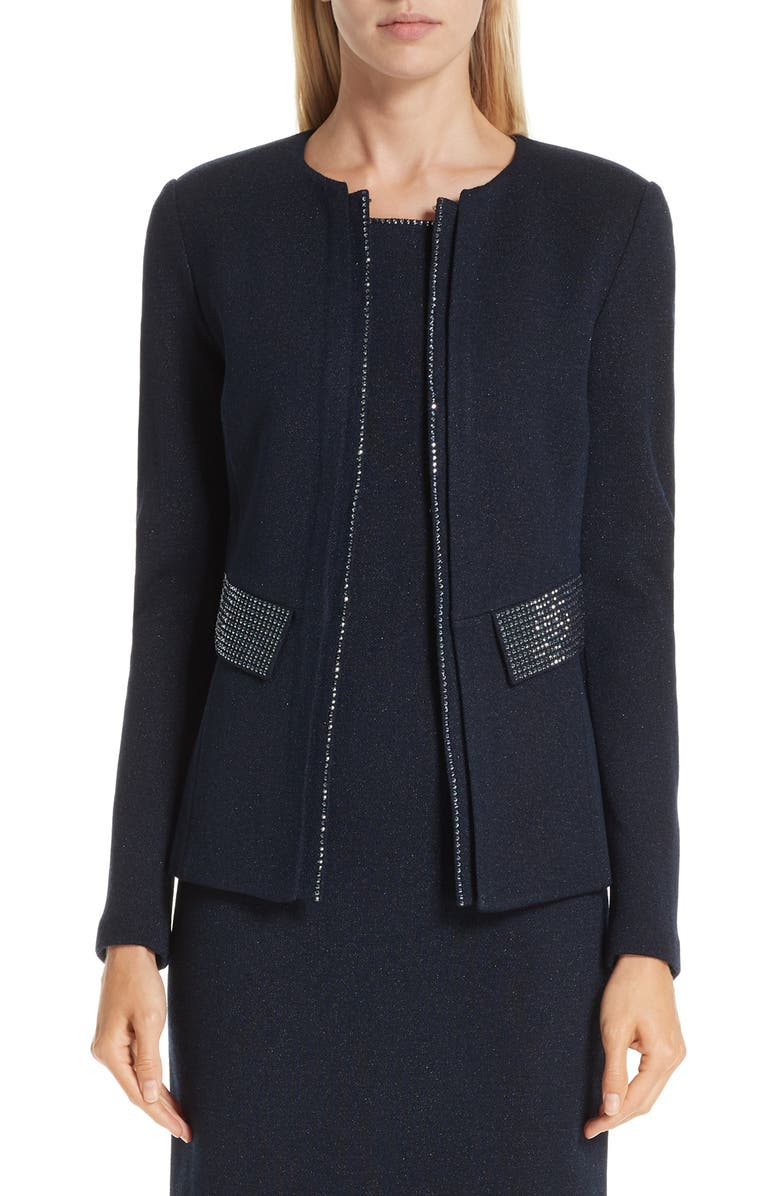 ST. JOHN COLLECTION Mod Crystal Trim Knit Jacket, Main, color, 410