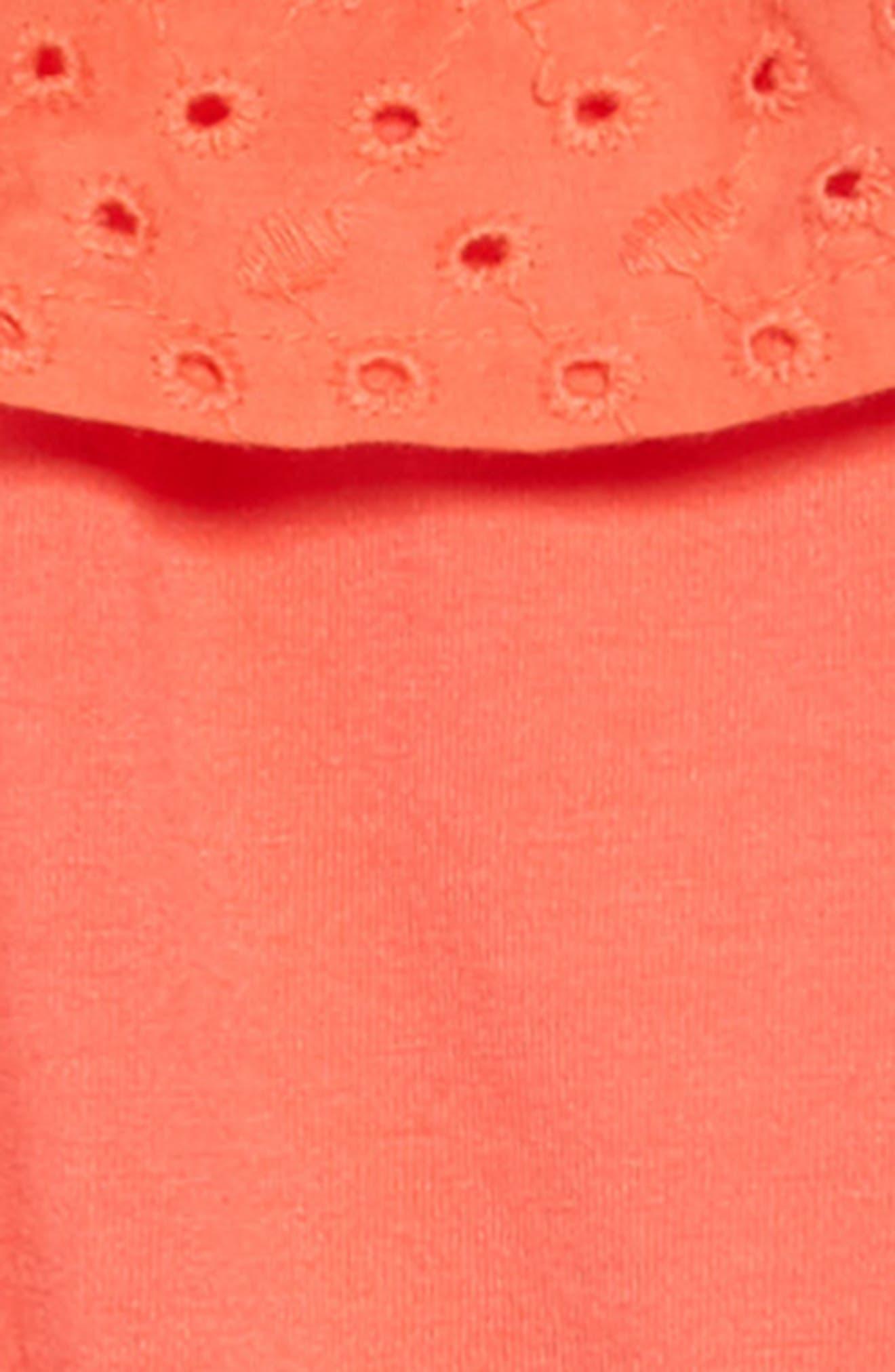 ,                             Eyelet Ruffle Knit Dress,                             Alternate thumbnail 3, color,                             CORAL GLOW