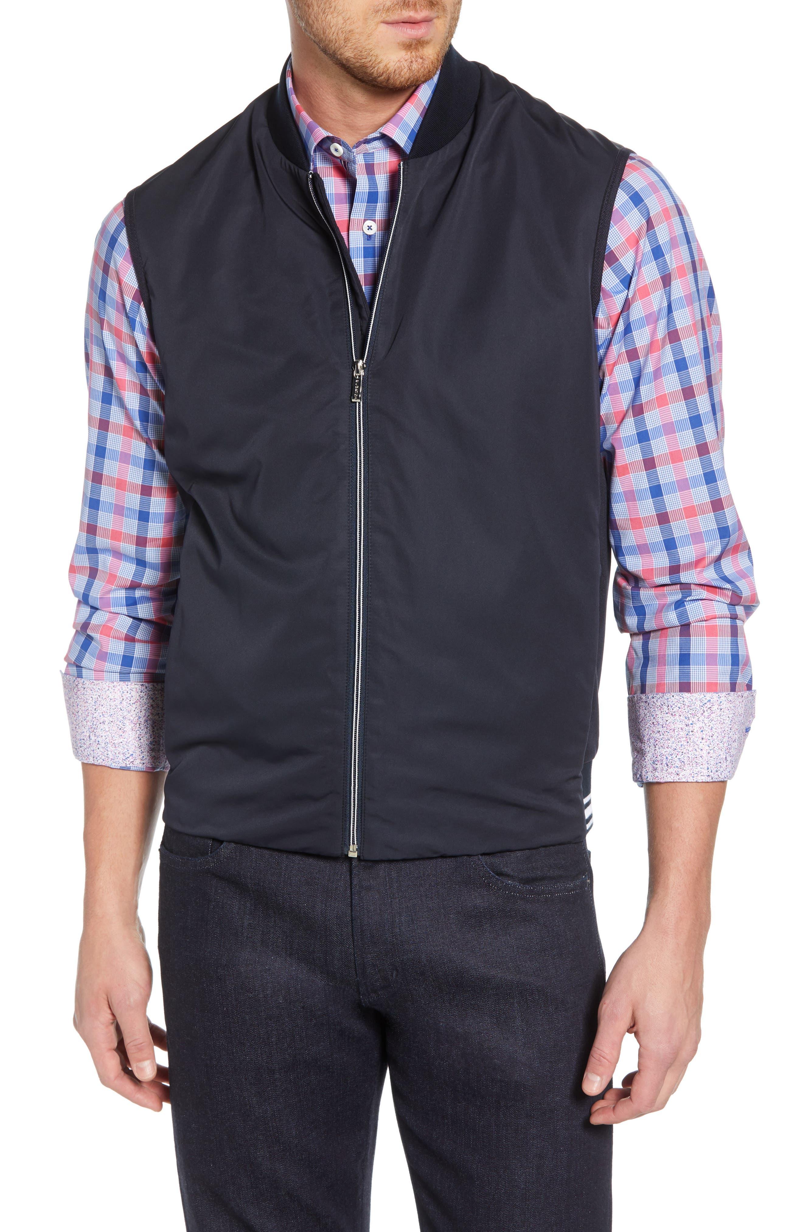 Bugatchi Performance Zip Front Vest, Blue