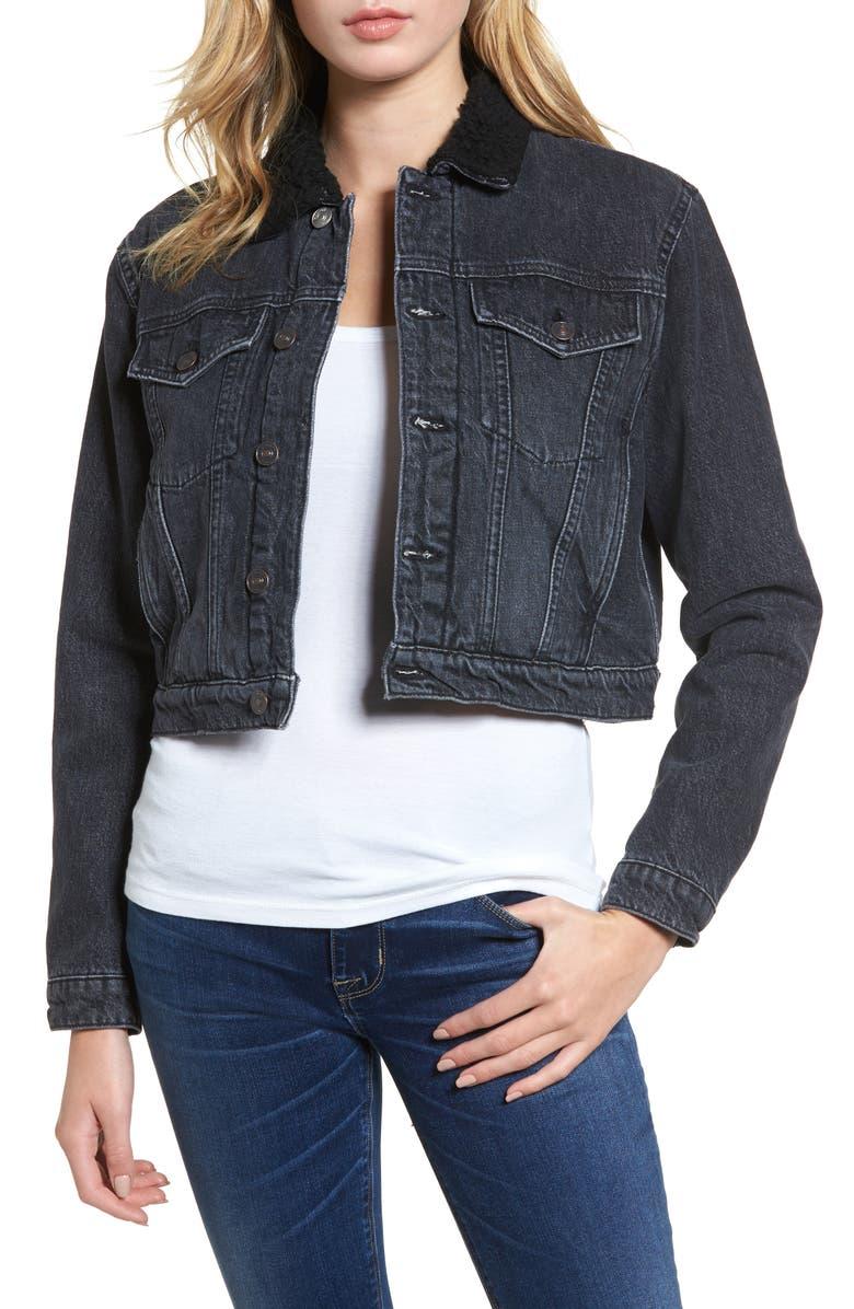 HUDSON JEANS Georgia Fleece Lined Denim Jacket, Main, color, 001