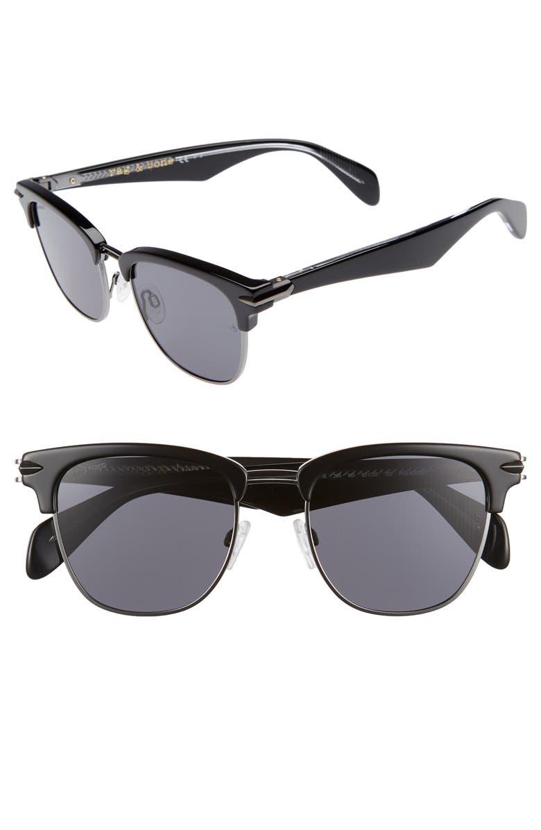 RAG & BONE 52mm Polarized Sunglasses, Main, color, 001
