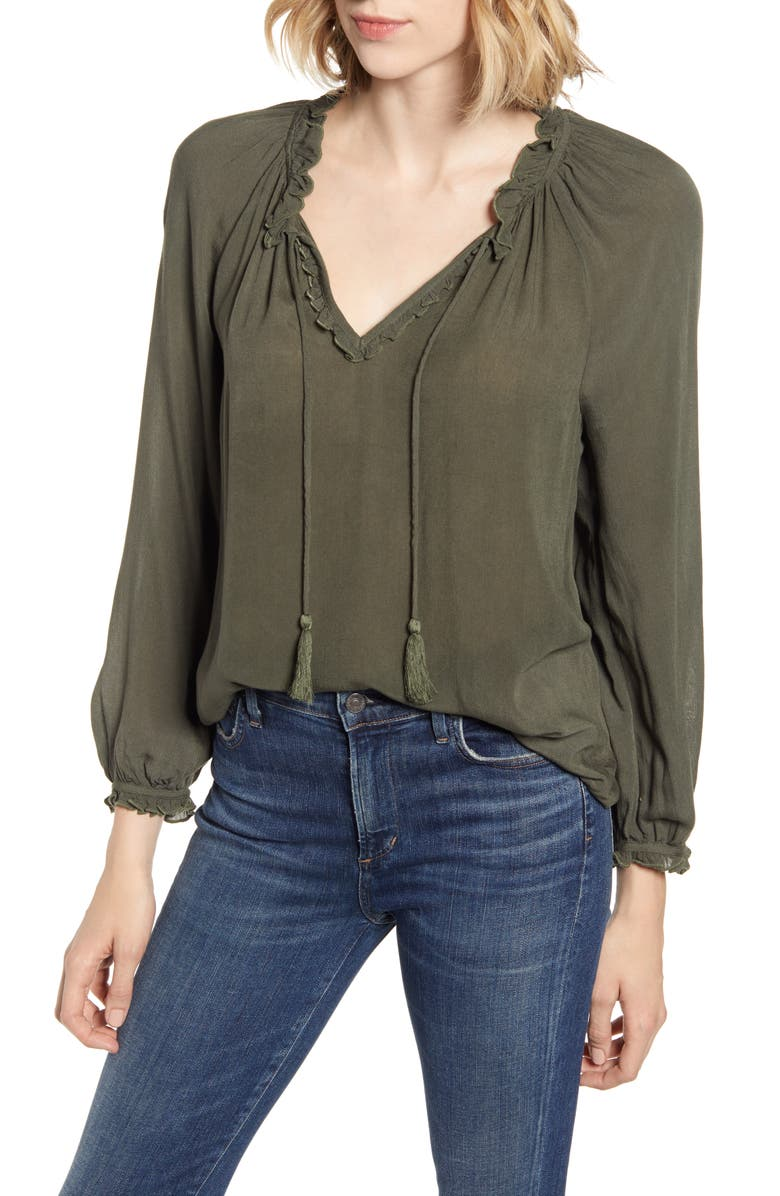 Giselle Ruffle Detail Peasant Blouse by Lucky Brand