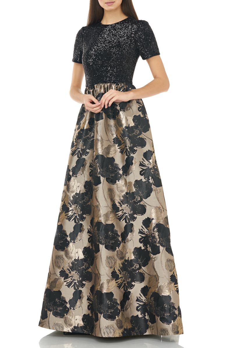 CARMEN MARC VALVO INFUSION Sequin Tee Metallic Jacquard Ballgown, Main, color, BLACK/ GOLD