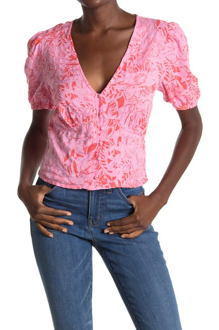 Image of Abound Tropical Puffed Sleeve Blouse