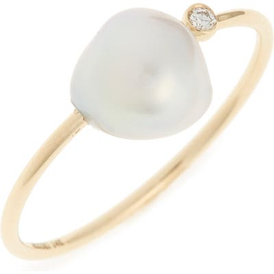 Mizuki Sea Of Beauty Diamond & Keshi Pearl Ring