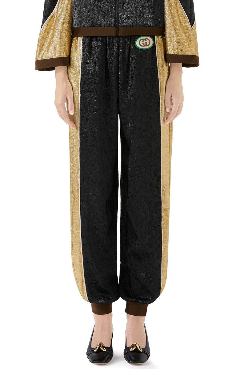 GUCCI Metallic Crepe Jogger Pants, Main, color, BLACK/ YELLOW GOLD