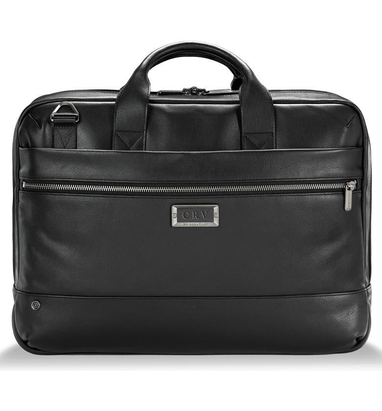 BRIGGS & RILEY Medium RFID Pocket Leather Briefcase, Main, color, BLACK
