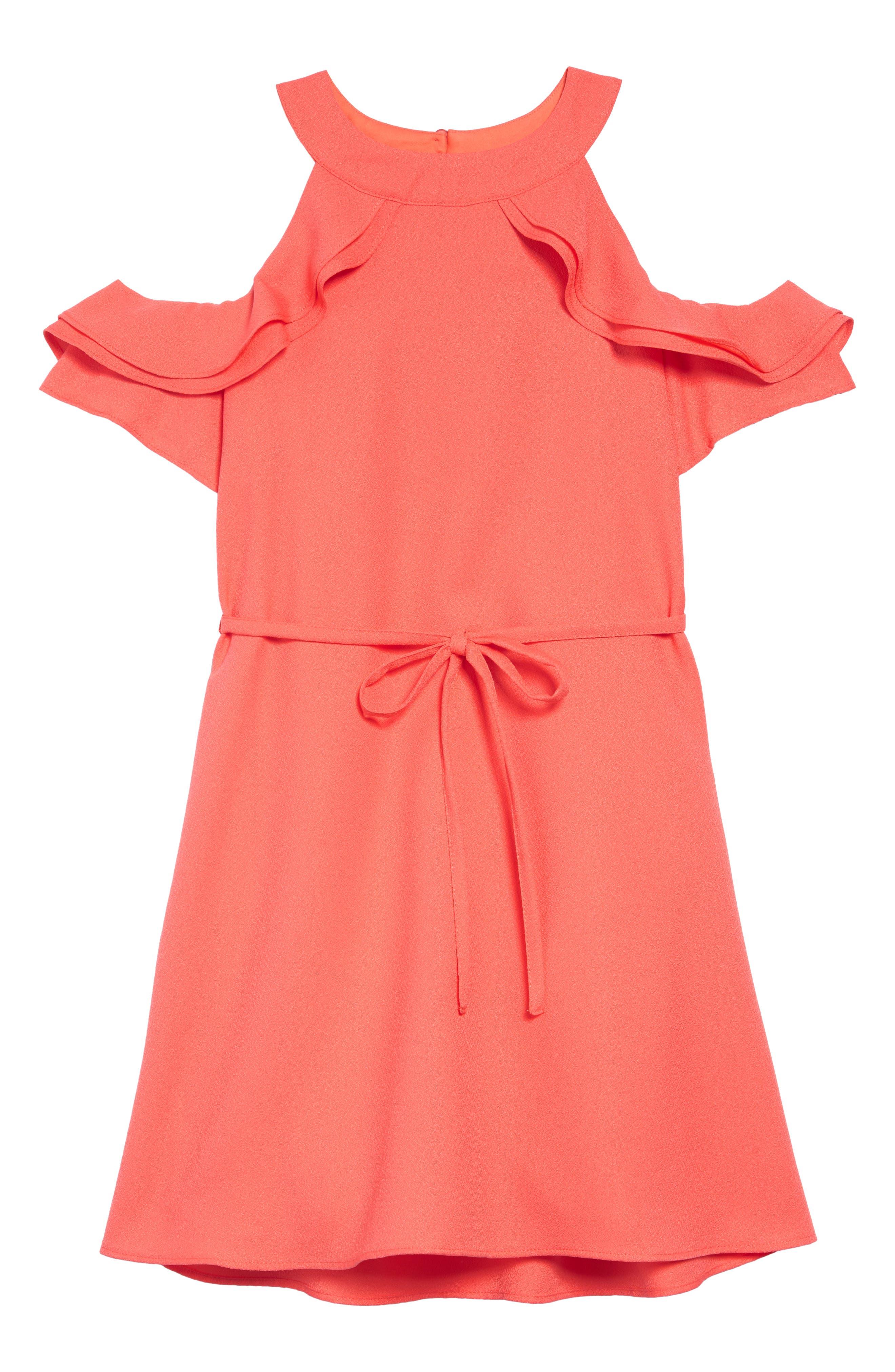 Cold Shoulder Crepe Dress, Main, color, 950