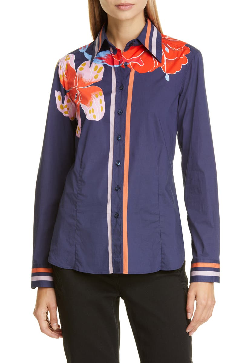 ETRO Pop Lily Print Shirt, Main, color, NAVY