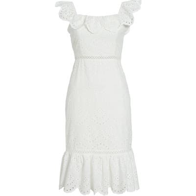 Sam Edleman Ruffle Eyelet Dress, White