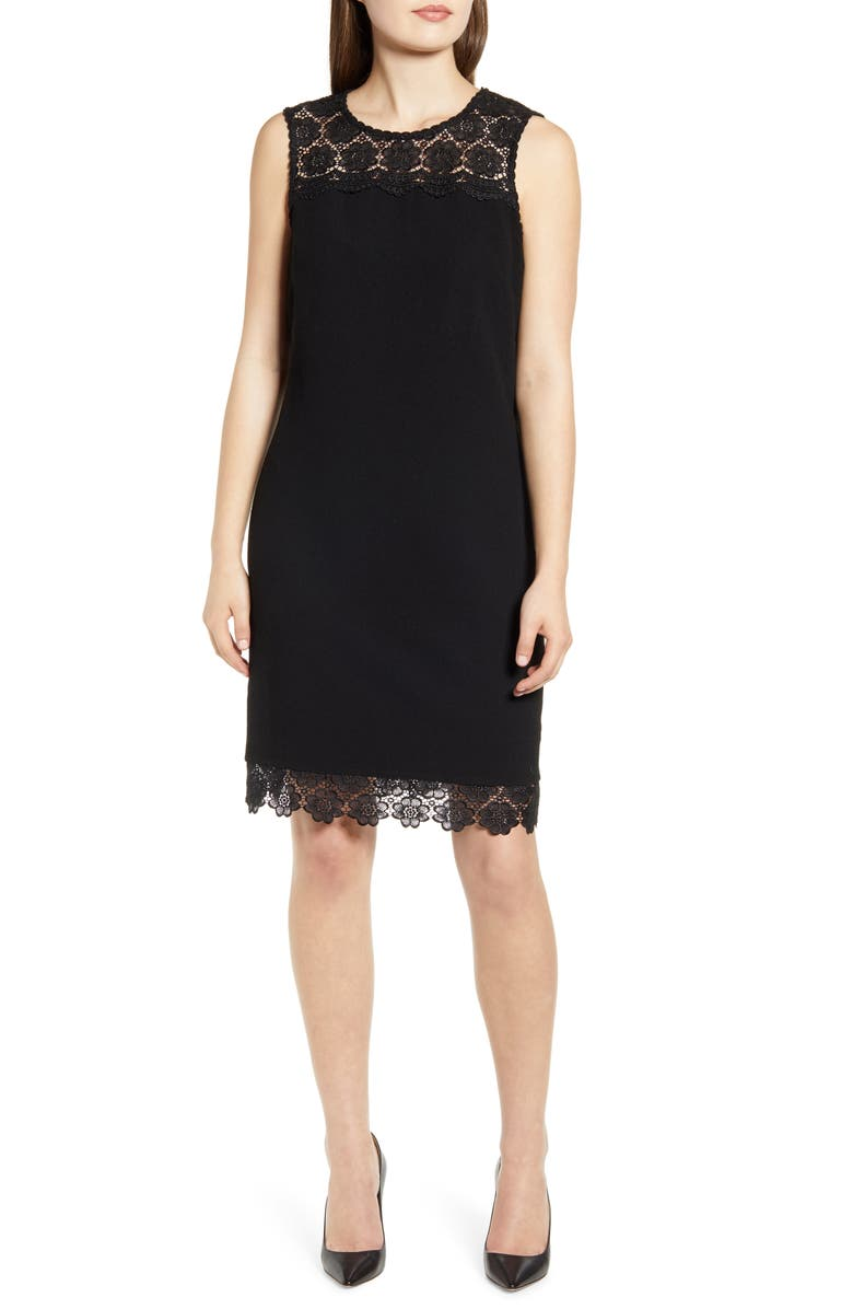 KARL LAGERFELD PARIS Lace Detail Sleeveless Dress, Main, color, 001