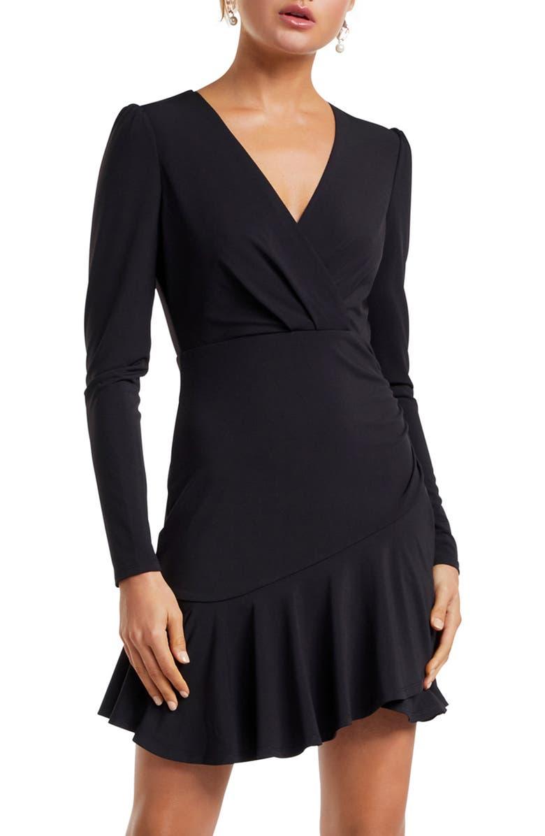 EVER NEW Rumi Asymmetrical Long Sleeve Skater Dress, Main, color, 001