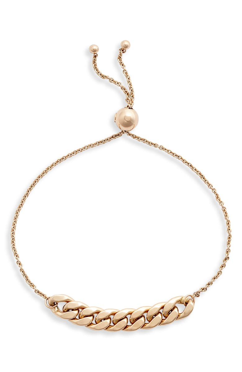 ZOË CHICCO Curb Station Bracelet, Main, color, YELLOW GOLD