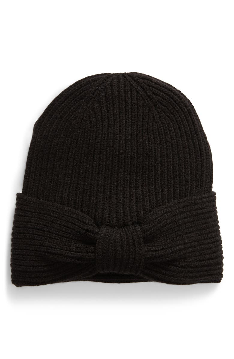 KATE SPADE NEW YORK solid bow reversible beanie, Main, color, BLACK