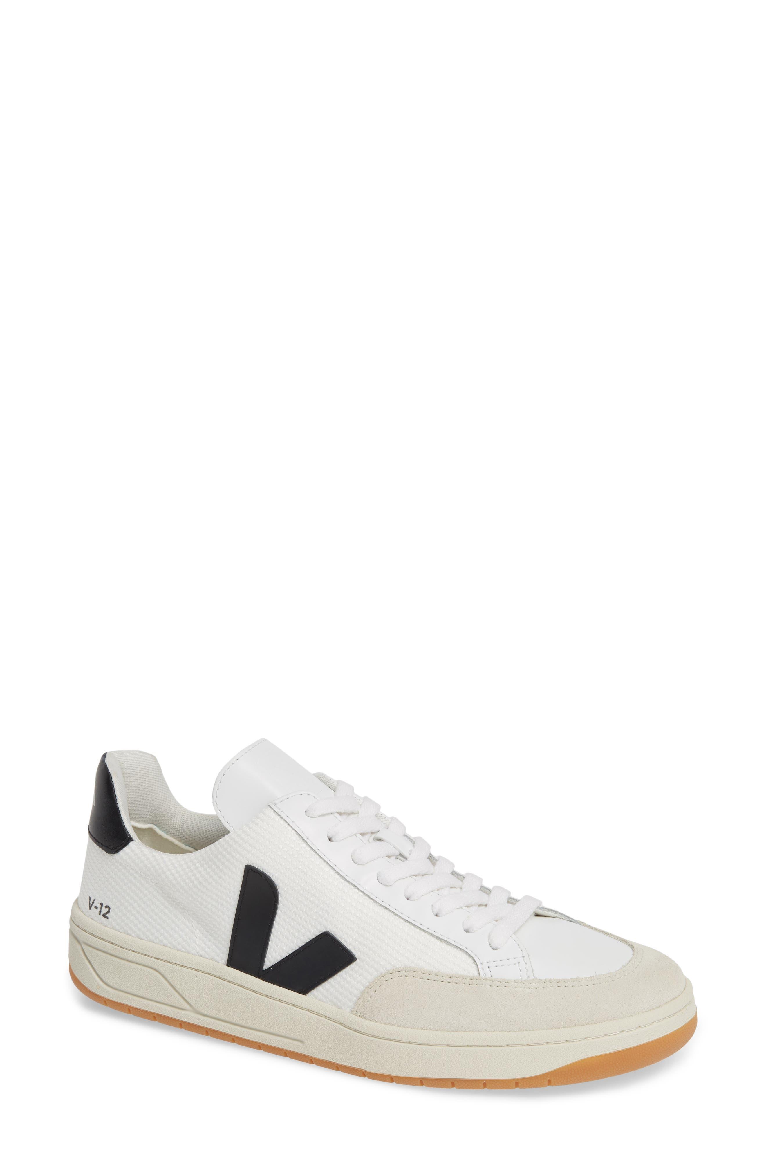 V-12 Sneaker, Main, color, WHITE BLACK