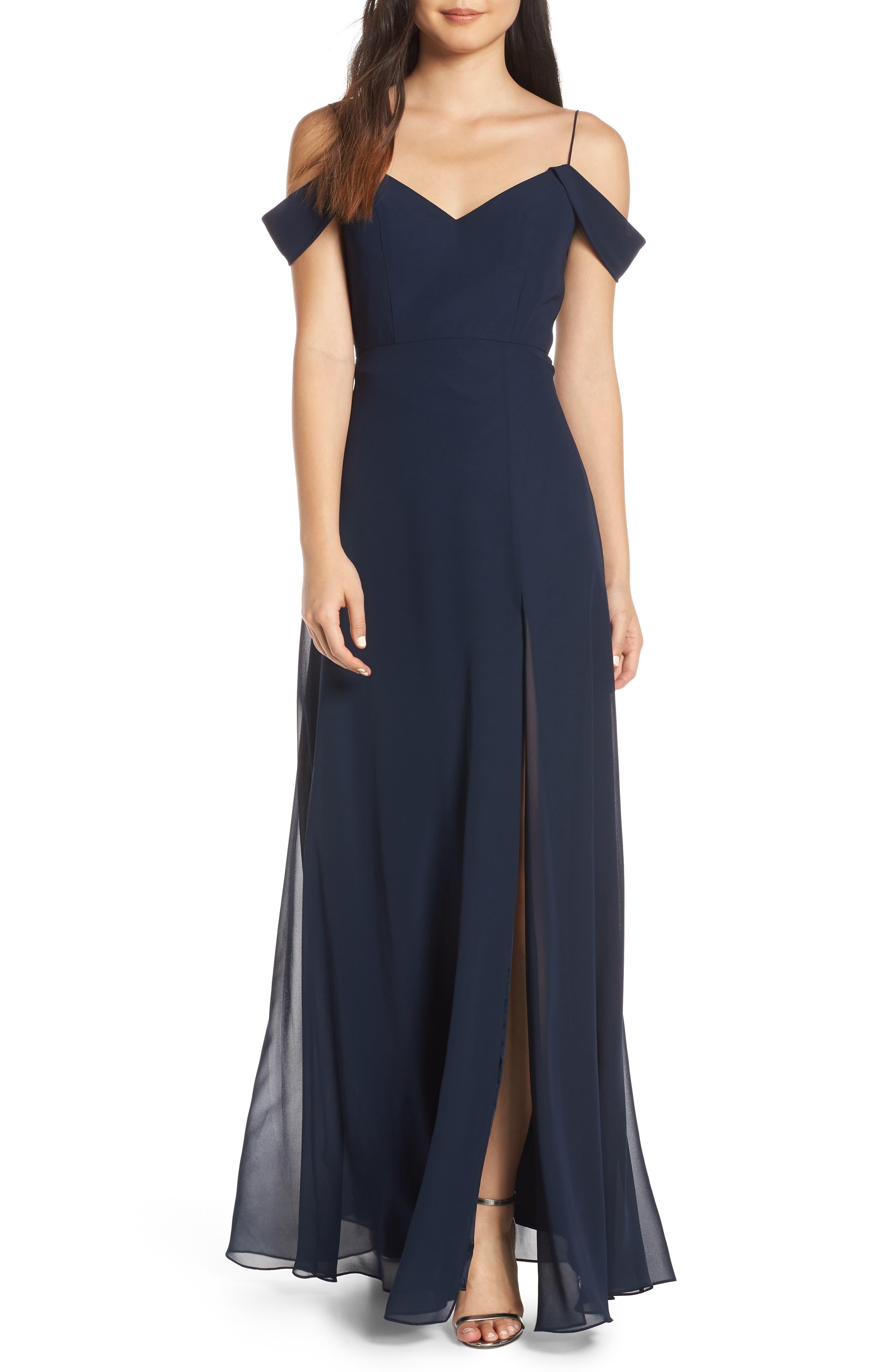 ,                             Priya Cold Shoulder Chiffon Evening Dress,                             Main thumbnail 1, color,                             NAVY