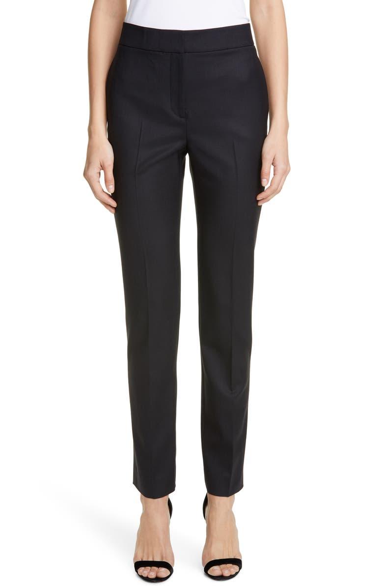 OSCAR DE LA RENTA Wool Blend Skinny Pants, Main, color, BLACK