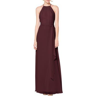 #levkoff Halter Neck Tie Detail Chiffon Gown, Burgundy