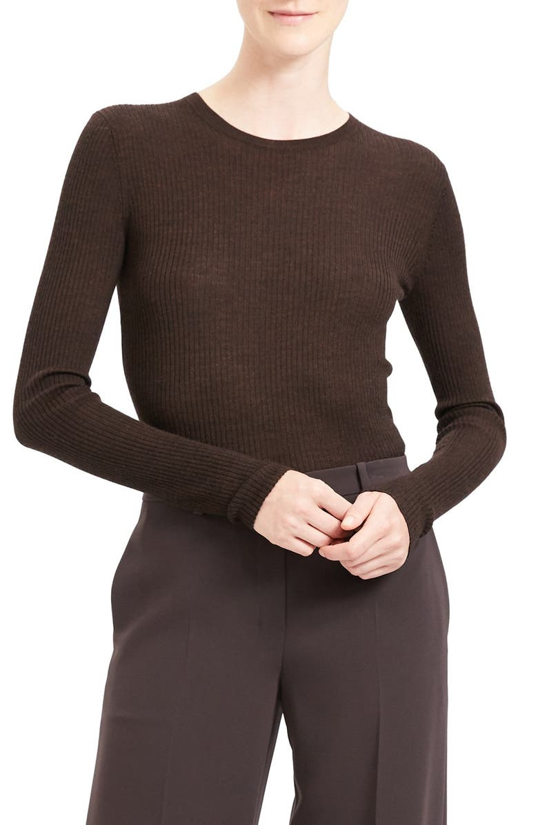 THEORY Mirzi RW Regal Ribbed Long Sleeve Wool Blend Sweater, Main, color, 243