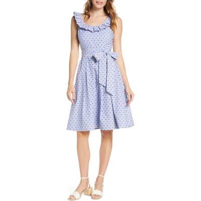 Petite 1901 Stripe Pleat Collar Clip-Dot Fit & Flare Dress, Blue