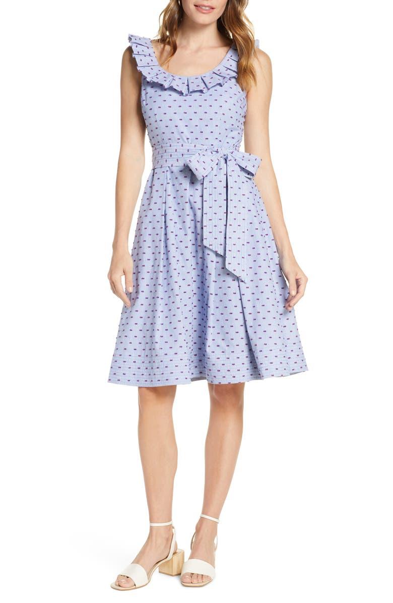 1901 Stripe Pleat Collar Clip-Dot Fit & Flare Dress, Main, color, BLUE CLIPDOT
