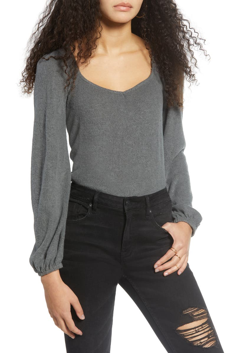 PST BY PROJECT SOCIAL T Long Sleeve Top, Main, color, CHARCOAL